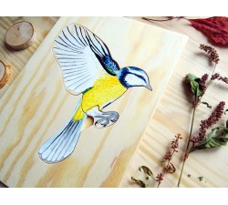 Ručně malované puzzle stavba těla ptáčka + zdarma karta